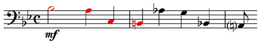 BACH motif followed by transposed version from Schumann's Sechs Fugen uber den Namen B-A-C-H, op. 60, no. 4, mm. 1-3 Play (help*info) . Note that C and H are transposed down, leaving the spelling unaffected but changing the melodic contour. Schumann, Sechs Fugen uber den Namen B-A-C-H, op. 60, no. 4, mm. 1-3.png