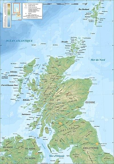 法语注释的苏格兰地形图