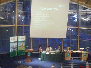 Party conference - The chairman's table at the Scottish Green Party's Autumn conference in November 2007. Note the agenda displayed on the screen behind.