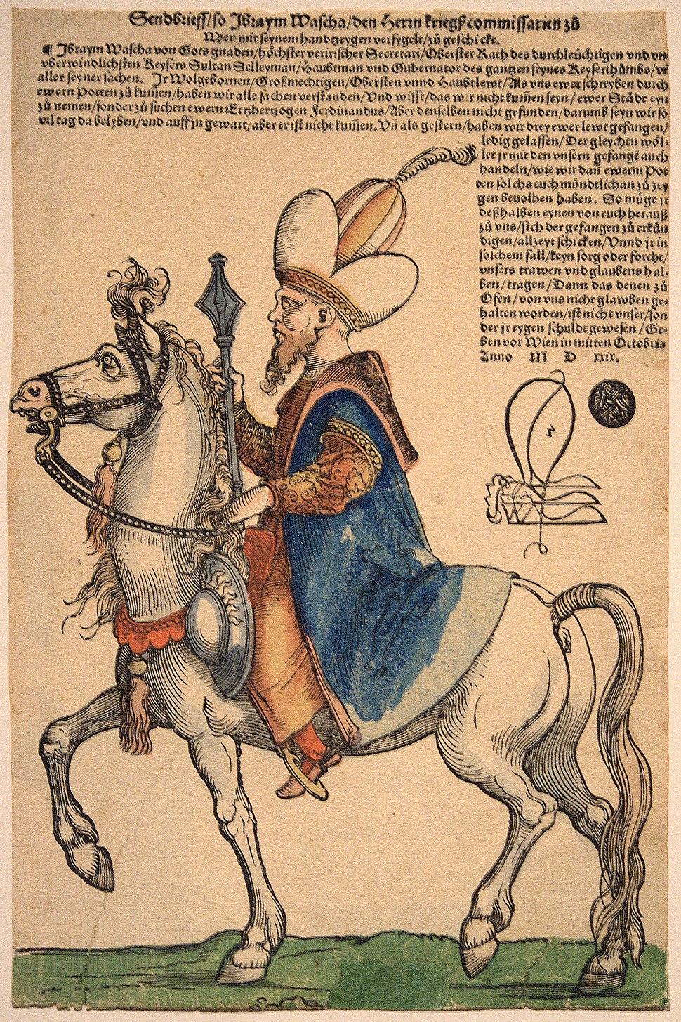 Sebald Beham - Pargali Damat Ibrahim Pascha ca 1530