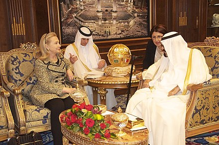 Secretary of State Clinton meets with King Abdullah of Saudi Arabia. Clinton supports maintaining U.S. influence in the Middle East. Secretary Clinton Meets With King Abdullah.jpg