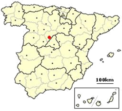 Location of Segovia in Spain