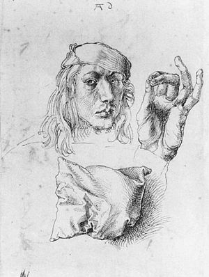 Self-Portrait (Dürer, Munich) - Image: Self portrait with a pillow 1103 mid