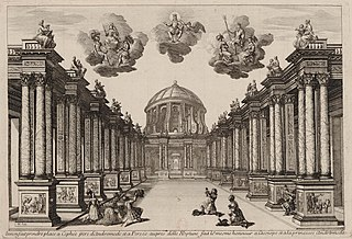 Set design for Andromedé by Pierre Corneille, (1650)