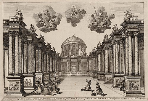 Set design for Andromede by Pierre Corneille, (1650) Set design Act5 of Andromede by P Corneille 1650 - Gallica.jpg