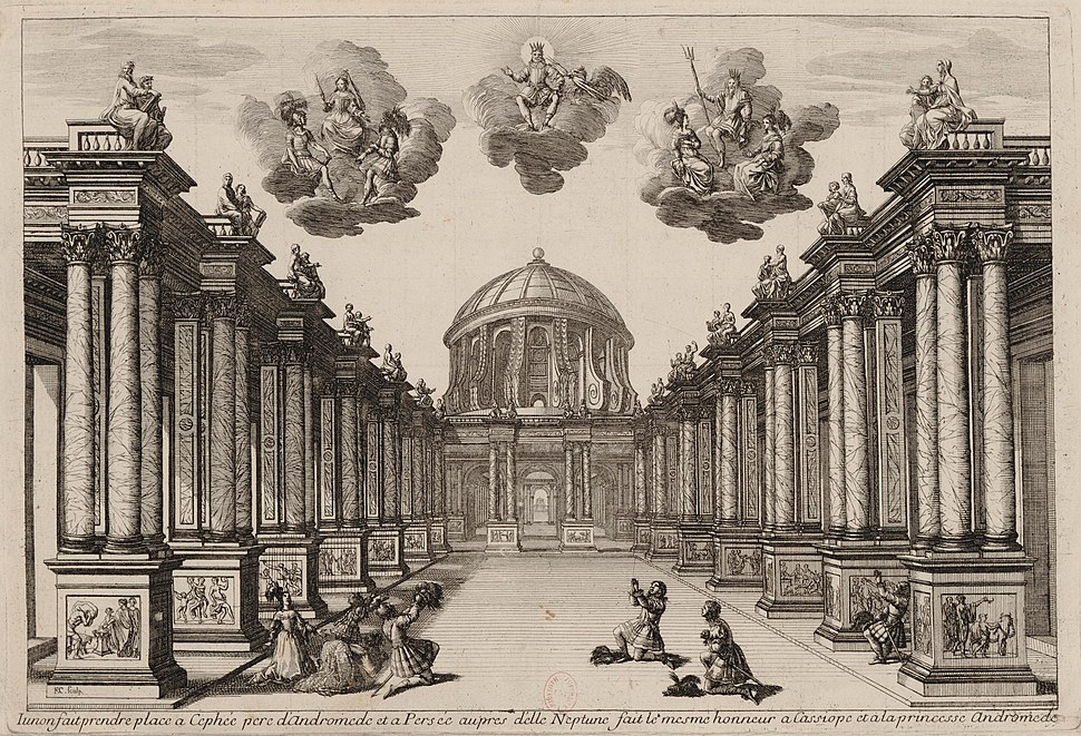 Set design Act5 of Andromède by P Corneille 1650 - Gallica