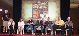 Shawn Patrick, Marilyn Burns, Teri McMinn, William Vail, John Dugan, Ed Neal, Ed Guinn, Allen Danziger, photographed by Ryota Nakanishi (The Texas Chainsaw Massacre).JPG