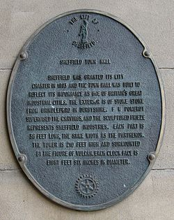 Sheffield town hall plaque