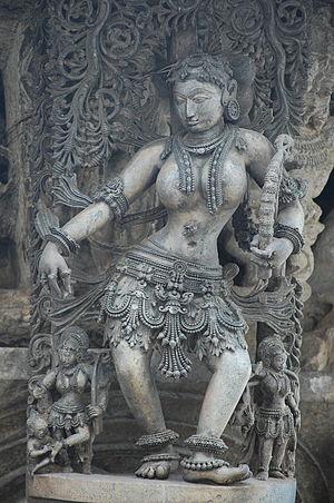 Salabhanjika -  Salabhanjika, Hoysala era sculpture, Belur, Karnataka, India
