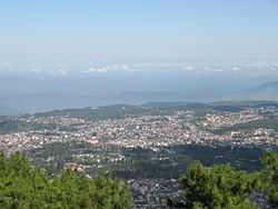 A view of Shillong with the Himalayas visible at the background