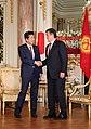 Shinzo Abe and Sooronbay Jeenbekov at the Enthronement of Naruhito (2).jpg