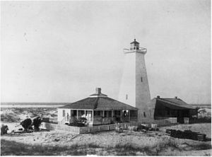 Ship Island (Mississippi) - Ship Island's 1886 wooden lighthouse. It was accidentally burned down in 1972 by campers.