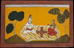 Chaupar - Hindu deities Shiva and Parvati playing chaupar, ca 1694–95