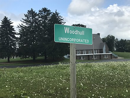 Sign showing Woodhull