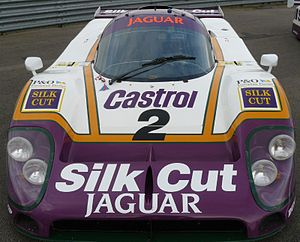 Silk Cut - Silk Cut sponsored Jaguar XJR-9 for Jaguar's sportscar efforts except in North America because of IMSA's tobacco ban, where Castrol was sponsor.