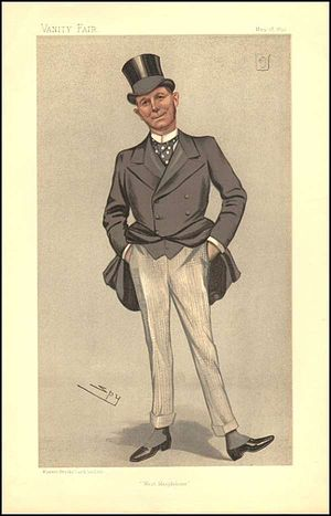 Frederick Seager Hunt - Caricature of Sir Frederick Seager Hunt drawn by Leslie Ward, appearing in Vanity Fair in May 1893.