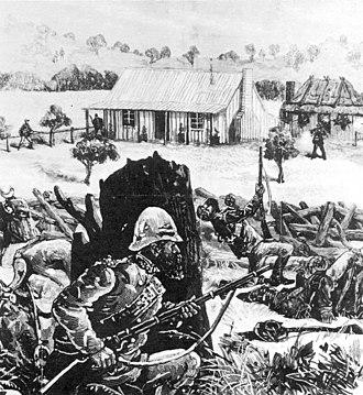 Slab hut - Police duel with bushrangers:   The Australasian Sketcher 1879  Slab-built farm buildings set the scene.