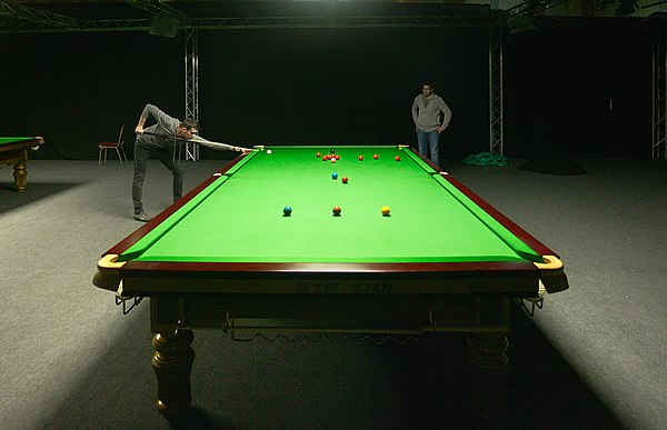 Snooker player Mark Selby playing a practice game - Snooker