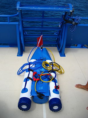 Snuba - A raft used for snuba showing the air cylinder and hoses