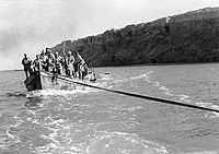 Boat going from Mount Sodom to Kalya before the war