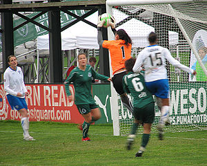Hope Solo - Solo saves a shot from the Boston Breakers in April 2010.