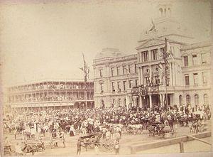 Volksraad - The Volksraad receiving President Paul Kruger at the Ou Raadsaal, circa 1890