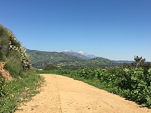 Glendora, California - South Hills Wilderness Trail with Mt Baldy and Cucamonga Peak in the distance