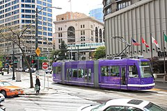 South Lake Union Streetcar approaches Stewart Street.jpg
