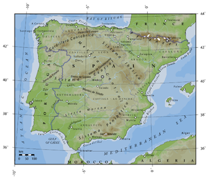 Relieve de España peninsular y Baleares.