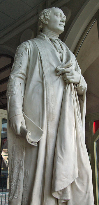 Perceval's statue at Northampton Guildhall by Sir Francis Chantrey, 1817 Spencer Percival Guildhall Northampton 2.jpg