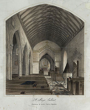 St Mary's Church, Caldicot - An 1865 lithograph of the interior