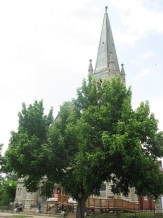 St. Peter's German Evangelical Church - Front, partially obscured by trees