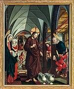 St. Wolfgang kath. Pfarrkirche Pacher-Altar Hochzeit zu Kana 01.jpg