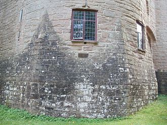 """St Briavels Castle - The octagonal """"spurs"""" designed to prevent undermining."""