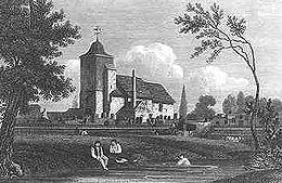 Gravure en noir et blanc montrant une église en arrière-plan, avec une rivière qui coule au premier plan. Deux personnes sont assises sur la rive, et une autre est en train de nager. Des arbres encadrent l'image.