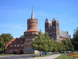 Medieval city gate 'Mitteltor' and St. Mary of Prenzlau