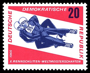 FIL World Luge Championships - Stamp issued for the FIL World Luge Championships 1966 in Friedrichroda, East Germany that were cancelled.