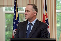 Stands With New Zealand Prime Minister John Key as They Address Reporters at Premier House in New Zealand (30642763670)