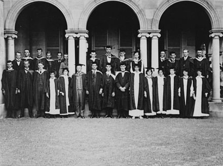 A group of Queensland University students in 1912 StateLibQld 1 126411 Group of Queensland University students, pictured at the St. Lucia campus, ca. 1912.jpg