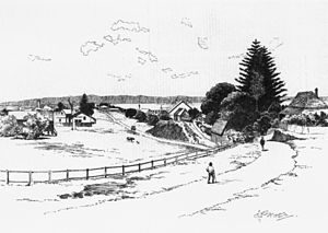 Grand View Hotel - StateLibQld 2 45927 The Grand View, Sketch of Cleveland as viewed from the Brighton Hotel, 1892
