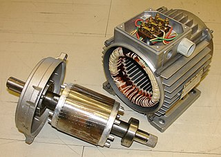 Induction motor partially opened. The rotor, these small cuts in the metal form a low impedance coil, and case with its coils. The fins on the case help to dissipate the generated heat. Depending on the motor it normally have a fan attached to the axle, or use other motor for forced ventilation, for example the motor runs slow.