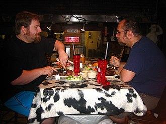 The Big Texan Steak Ranch - Two men take the steak challenge on April 6, 2008