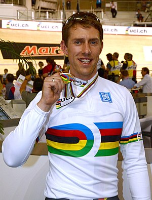 Rainbow jersey - Stefan Nimke, 2012 men's 1 km time trial world champion wearing the track rainbow jersey