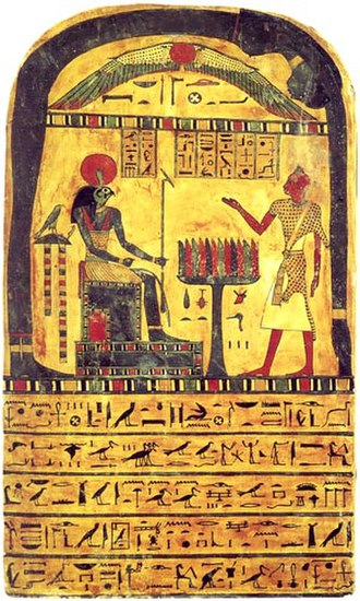 Thelema - The Stèle of Revealing, depicting Nuit, Hadit as the winged globe, Ra-Hoor-Khuit seated on his throne, and the creator of the Stèle, the scribe Ankh-af-na-khonsu