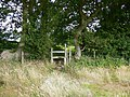 Stile between the wheat field and the woodland - geograph.org.uk - 1398882.jpg