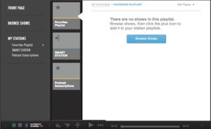 Stitcher Radio - A screenshot of Stitcher Radio's web app.