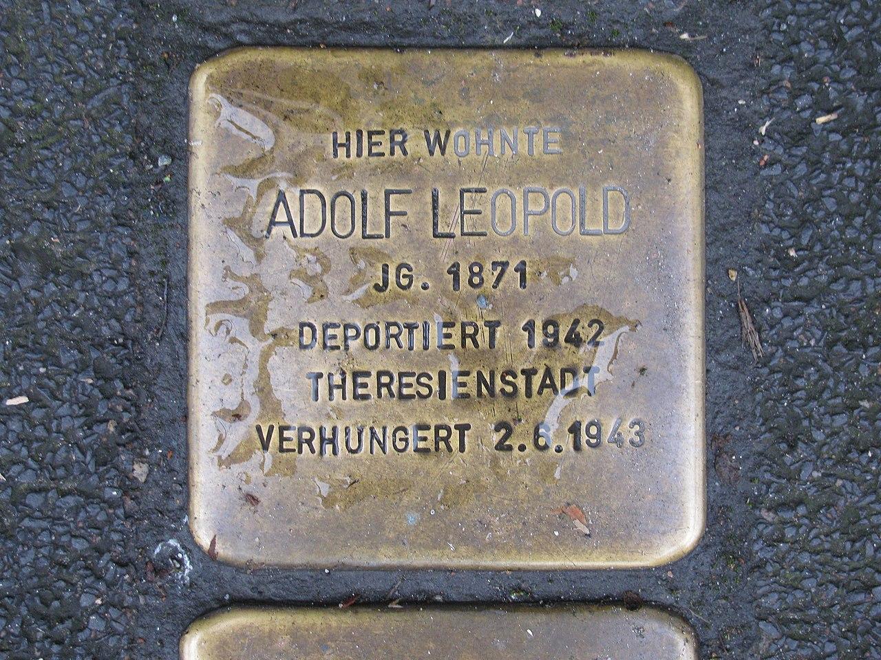 Stolperstein Adolf Leopold, 1, Schiede 28, Limburg an der Lahn, Landkreis Limburg-Weilburg.jpg