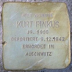 Photo of Kurt Pinkus brass plaque