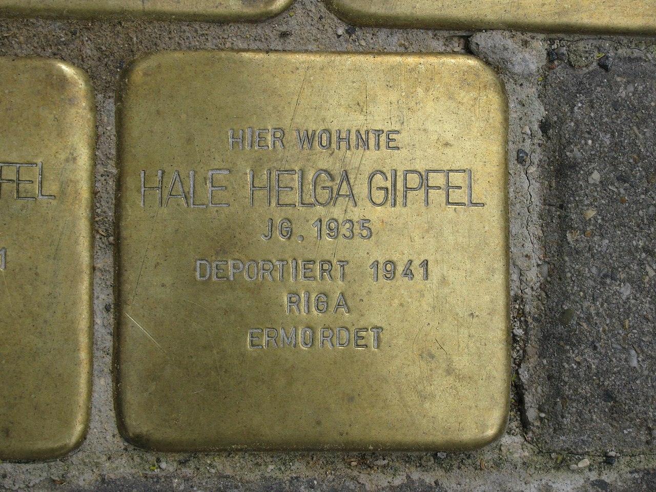 Stolperstein Hale Helga Gipfel, 1, Untere Königsstraße 86, Wesertor, Kassel.jpg