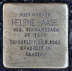Photo of Helene Haase brass plaque